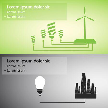 iluminacion led: Energ�a renovable. Fuentes alternativas de energ�a, la imagen conceptual. Vectores