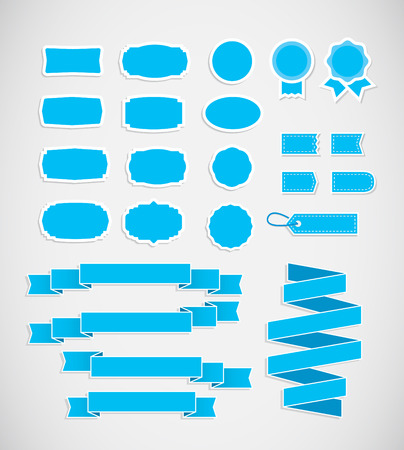 soft sell: Blue price tags, ribbons and labels. Decorative badges and ribbons in blue colors.