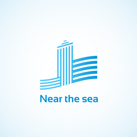 real estate agency: Property by the sea.Logo for the real estate agency. Illustration