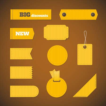 etiqueta: Las etiquetas de varias formas. Conjunto de etiquetas, pegatinas de diferentes formas.