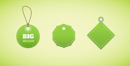 hem: Green price tags, labels. Several labels in a simple form. Illustration