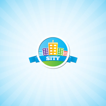 high rise buildings: The emblem of the city. Drawing colored houses in the style of cartoon.