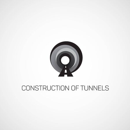 road construction: Construction of tunnels. Logo of the tunnel. Illustration