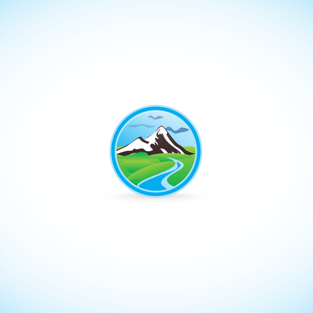 mountaintop: Snowy mountains and the river. Bright cartoon drawing of the mountains and the river.