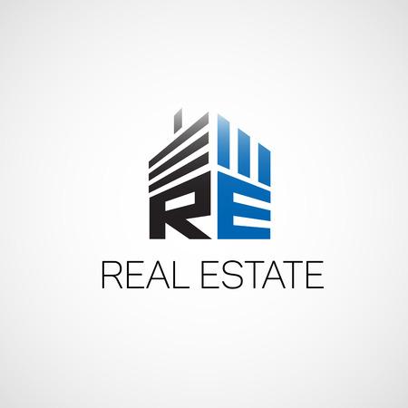플랫 스타일의 부동산 기관에 대한 실제 estate.Logo. 일러스트