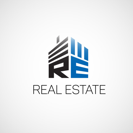 real: Real estate.Logo for real estate agency in the flat style.