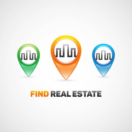 agence immobiliere: Find real estate.Image for real estate agency. Illustration