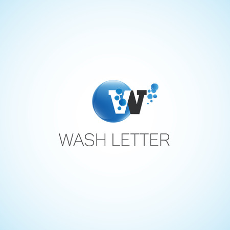 bleach: Wash letter.Letter W of water with bubbles.