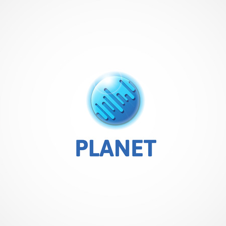 Planet.Drawing a blue planet in the form of a logo.