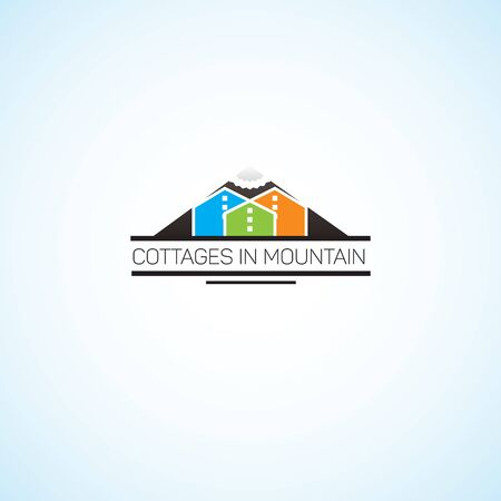 mountaintop: Bright picture on the theme of construction. Illustration
