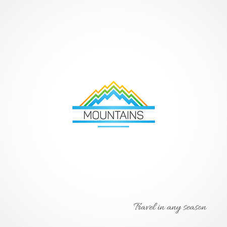 mountaintop: Bright picture of mountains, like a journey. Illustration