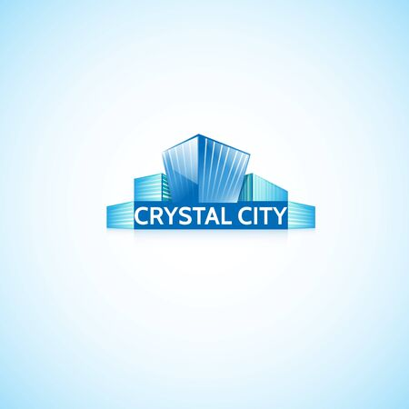 high rise buildings: Crystal City.Bright picture of modern buildings. Illustration