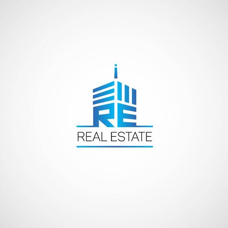 high rise buildings: Logo for real estate agency in the flat style.