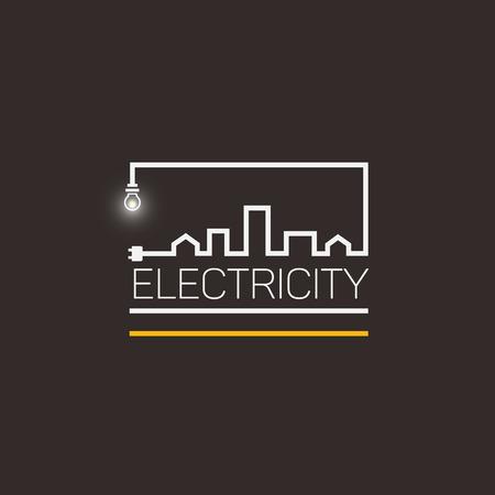 Interesting logo, electricity and city. Çizim