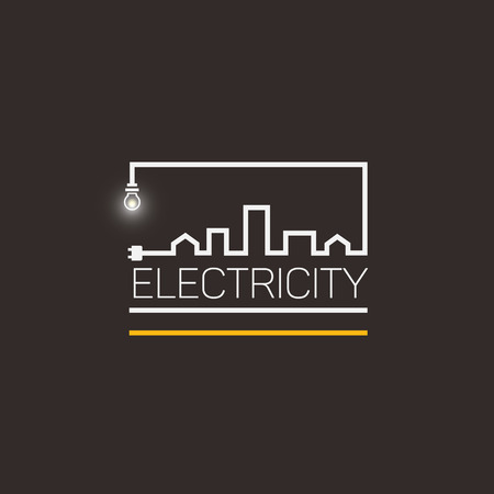 Interesting logo, electricity and city. Illustration
