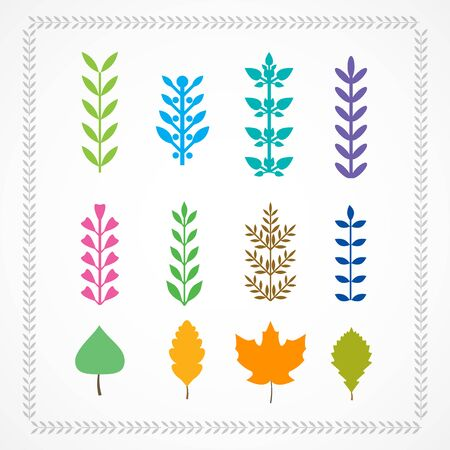 twigs: Set of multicolored twigs and leaves. Illustration