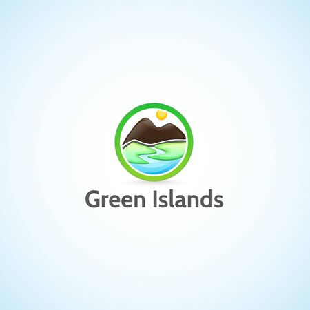 river rock: Green islands. Illustration