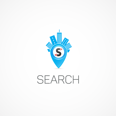 high rise buildings: Search Label. Illustration