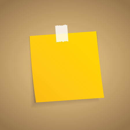 adhesive note: Yellow sticky note on an adhesive tape.