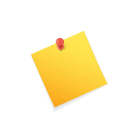 adhesive  note: Adhesive note on pushpin.