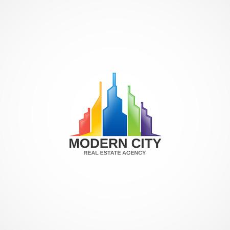 high rise buildings: Multicolored buildings. Illustration