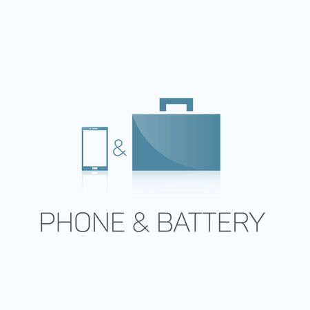 autonomia: Phone and Battery. Vectores
