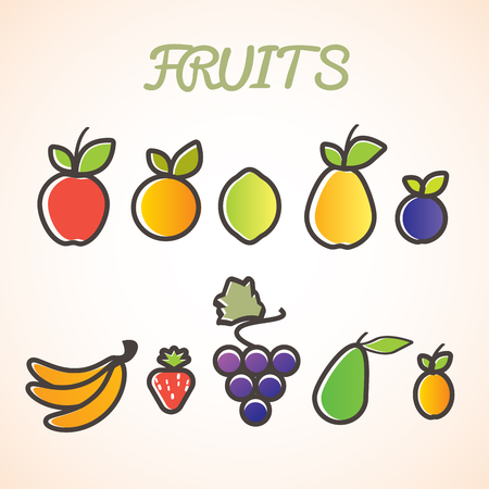 pears: Bright fruits. Illustration