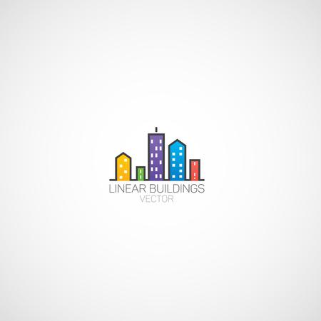 Logo di edifici lineari. Archivio Fotografico - 81228892