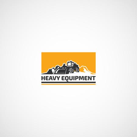 Logo de l'équipement lourd, chargeur et montagnes. Logo