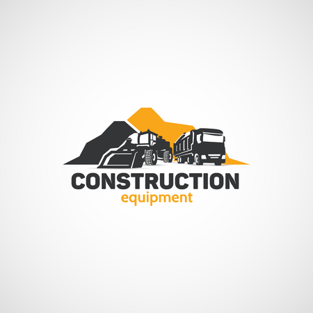 Attrezzature da costruzione, caricatore e camion.