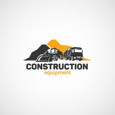 Maszyny budowlane, ładowarki i ciężarówki.