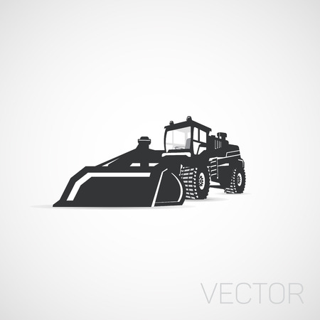 excavation: Construction equipment tractor icon, isolated.