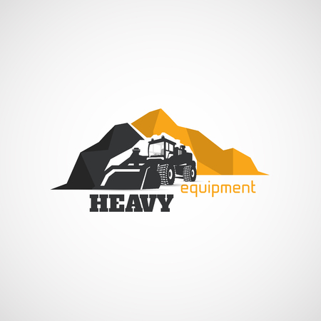 Équipement lourd, chargeur de construction. Vecteurs