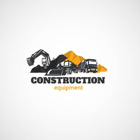 Excavator, Truck and Loader, Construction Equipment. Stock Illustratie