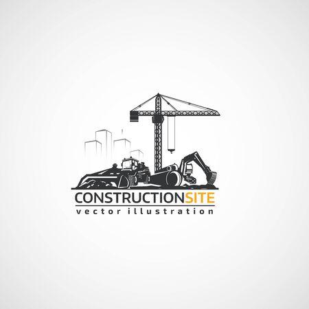 건설 현장, 트랙터, 굴삭기 및 건물 크레인.