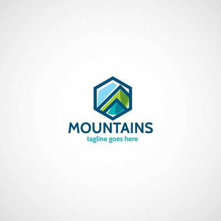 Mountains flat logo.