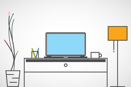노트북, 디자이너 직장, 평면입니다.