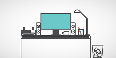 데스크탑 컴퓨터, 디자이너 작업장, 평면.
