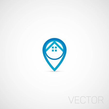 Real Estate, Geo Tag logo. Ilustrace