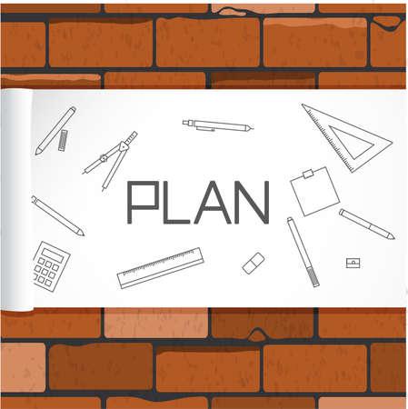Brick wall, Construction Plan. Illustration