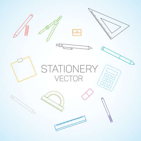 Stationery flat line set.