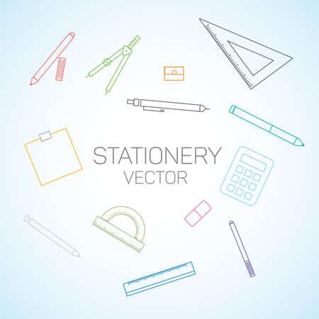 Stationery flat line set.