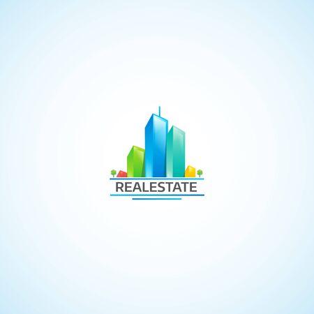도시의 부동산, 밝은 건물 로고.