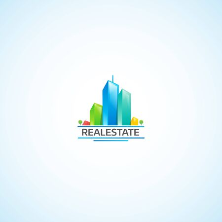 Real Estate in City, Bright Buildings logo.