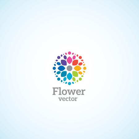 멀티 꽃잎 로고가있는 밝은 꽃. 일러스트