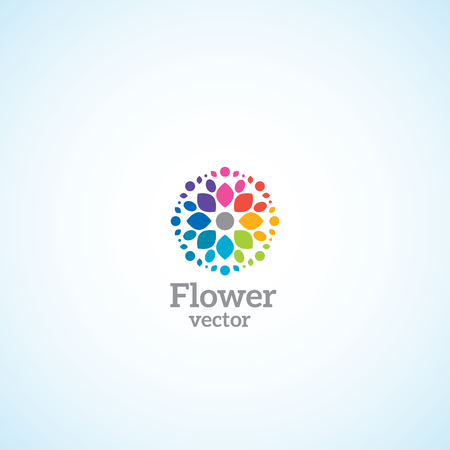Bright flower with multi-colored petals logo. Illustration