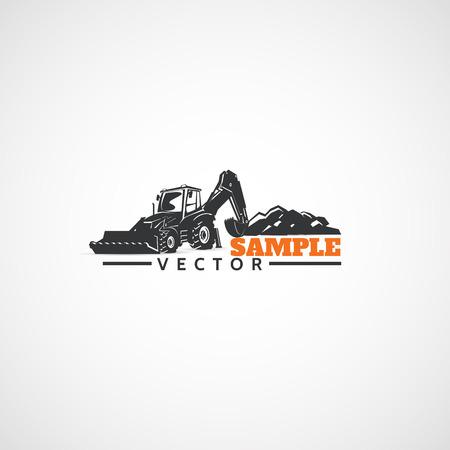 バックホウ トラクター、建設機械です。  イラスト・ベクター素材