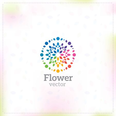 Bright flower with multi-colored rose petals logo. Illustration