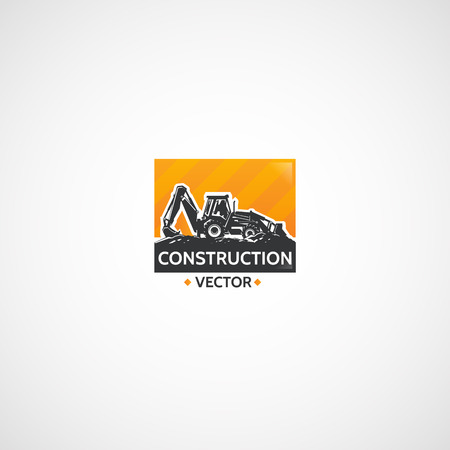 Construction Backhoe Tractor vector emblem.