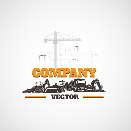 Construction Machinery and Buildings. Illustration